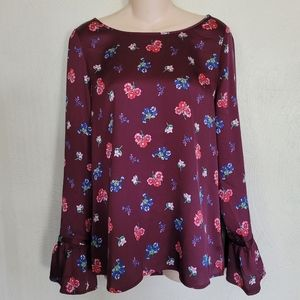 Express Maroon floral bell sleeve blouse size M